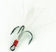 Недорогие -Открытый рыбалка 3-крючки Разработанный с перьями и Барб Крюк Серебро (5 шт, размер 2 #, 4 #, # 6, # 8)