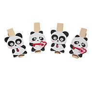 Panda Pattern Wooden Clip(4 PCS)