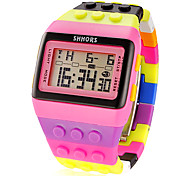 cheap -Women's Block Brick Style LCD Digital Colorful Strap Watch Plastic Band Wrist Watch Cool Watches Unique Watches Fashion Watch