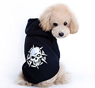 Cani Felpe con cappuccio Nero Abbigliamento per cani Primavera/Autunno Teschi Di tendenza