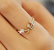 cheap -Women's Rhinestone / Alloy Music Notes Band Ring - Love / Open / Cute Style Silver / Golden Ring For Party / Daily / Casual