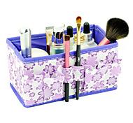Folding Flower Pattern Quadrate Cosmetics Storage Organizer Stand Box Makeup Brush Pot(3 Color Choose