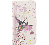 Butterfly Girl Drawing Pattern Faux Leather Hard Plastic Cover Pouches for Samsung Galaxy Note2 N7100