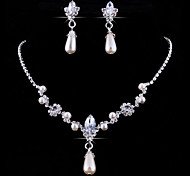 Jewelry Set Pendant Necklaces Personalized Floral European Wedding Party Pearl Crystal Rhinestone Imitation Diamond Alloy Drop Necklace