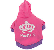 cheap -Dog Hoodie Dog Clothes Tiaras & Crowns Rose Cotton Costume For Pets Men's Women's Casual/Daily