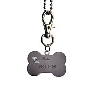 Недорогие -Персональный подарок Кость Форма розовый и черный Pet Id Name Tag с цепочкой для собак