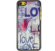 Rabisco do Amor Padrão Hard Case PC com 3 Pacotes de Protetores de tela para iPhone HD 5C