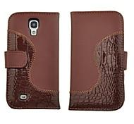 Carteira de couro de crocodilo PU Stand Case Flip for i9500 Samsung Galaxy S4