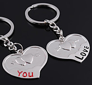 cheap -Personalized Engraved Gift a Pair Heart Shaped Lover Keychain