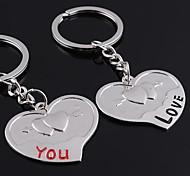 baratos -Personalizado gravado dom de um coração em forma de par amante Keychain