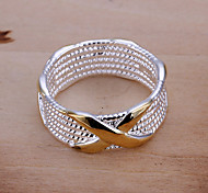 Women's Band Rings Statement Rings European Costume Jewelry Silver Plated Circle Geometric Jewelry For Party Daily Casual