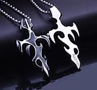 Недорогие -Персональный подарок Мужские украшения титана стали Пламя Shaped выгравированы кулон ожерелье с 60 см цепи