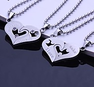Personalized Gift Couples Stainless Steel Engraved Pendant Necklace Jewelry with 60cm Chain