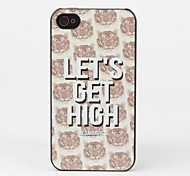 Tiger Head and Let's Get High Protective Back Case for iPhone 4/4S