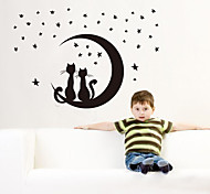 cheap -1PCS Black Removable Space Cat Wall Sticker