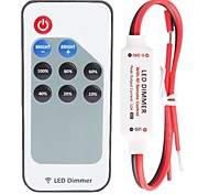 R107  Mini Single Color Led Dimmer Strip Controller with RF Remote,Red and Black Cable Line(DC5-24V 60-288W 12A)