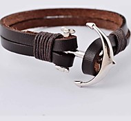 Punk 22cm Men's Silver Alloy Anchor Leather Bracelet Jewelry Christmas Gifts
