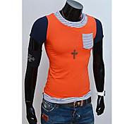 Футболка(Оранжевый / Желтый,Хлопок) -MEN-На каждый день-Контрастных цветов-С короткими рукавами