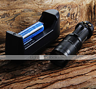 Mini LED Torch 7W 300LM CREE Q5 LED Flashlight Adjustable Focus Zoom Flashlight + 14500 3.6V Battery + Battery Charger