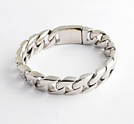 Fashion and Simple Men's  Silver 316L Stainless Steel Chain Cable  Bracelet  Christmas Gifts