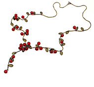 Women's Chain Necklaces Cherry Fruit Acrylic Alloy Fashion Costume Jewelry Jewelry For Party Daily Casual