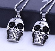 Personalized Gift  Skull Shapes Stainless Steel Jewelry Engraved Pendant Necklace with  60cm Chain