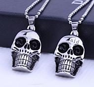 Недорогие -Персональный подарок Череп Формы ювелирные изделия нержавеющей стали с гравировкой ожерелье с 60см цепи