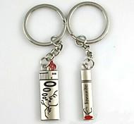 (Un par) Los cigarrillos y encendedores Interesante Llavero Símbolo de Amor-Alto grado de acero inoxidable