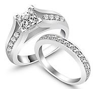 cheap -2Pcs/Set Wedding Engagament Ring Womens Rings Weddings & Events Classic AAA Silver Rings SetImitation Diamond Birthstone