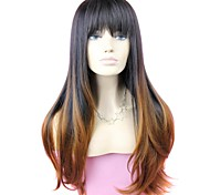 Full Bang Two Tone Long High Quality Big Wave Female Elegant Fashion Ombre Synthetic  Celebrity Wig