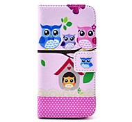 COCO FUN® Lovely Owl Family Pattern PU Leather Full Body Case with Screen Protector,Stylus and Stand for iPhone 5C