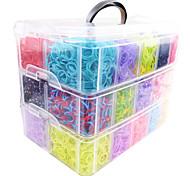 Недорогие -радуга красочные ткацкий станок большой размер 3 слоя многоцветный DIY резинкой (12000 шт) и разъем
