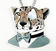 baratos -padrão de leopardo colar de madeira