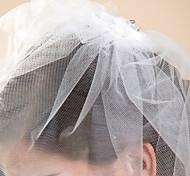 Свадебные вуали Один слой Короткая фата Обрезанная кромка 10-20 см Тюль Белый Цвет слоновой костиПлатье-трапеция, бальное платье,