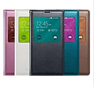 cheap -Case For Samsung Galaxy Samsung Galaxy Case with Windows Auto Sleep / Wake Flip Full Body Cases Solid Color PU Leather for S5
