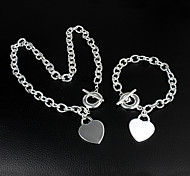 Women's Chain Bracelet Chain Necklaces Classic Basic Love Wedding Party Anniversary Gift Daily Casual Silver Plated Heart