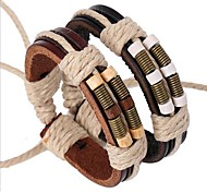 Men's Leather Bracelet Handmade Multi Layer Inspirational Festival/Holiday Costume Jewelry Personalized Vintage Leather Alloy Circle