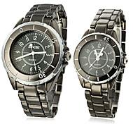 Paar Das schwarze Gehäuse Stahl Analog Quarz Armbanduhren (Schwarz)