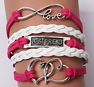 cheap -Women's Leather Heart Infinity Charm Bracelet Leather Bracelet - Personalized Unique Design Friendship Multi Layer Initial Jewelry