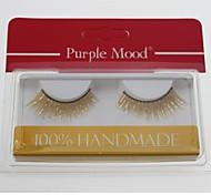 baratos -1 par de cabelo fibra sintética mão de alta qualidade feitos brilho longos e grossos estilo cannetille cílios postiços cfe461 #