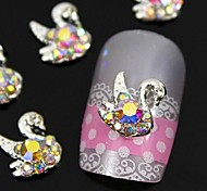 10pcs    Colorfull Rhinestone Swan 3D DIY Alloy Accessories Nail Art Decoration