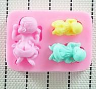 Three Baby Baking Fondant Cake Chocolate Candy Mold,L8cm*W6.3cm*H1.6cm