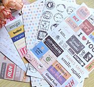 Postmark Word Scrapbooking Decorate Stickers (6PCS)