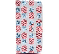 Red Pineapple Pattern on White PU Leather Full Body Case for iPhone 5/5S