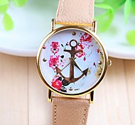 cheap -Women's Quartz Wrist Watch Hot Sale PU Band Flower Fashion White Beige