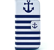COCO FUN® Navy Blue Anchor Pattern PU Leather Full Body Case with Screen Protector for iPhone 5C