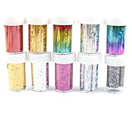 10PCS Laser Foil Nail Decorations Starry Nail Stickers (120x4x0.1cm)