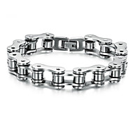 cheap -Men's Stainless Steel Chain Bracelet - Personalized Unique Design Punk Jewelry Silver Silver/Black Bracelet For Wedding Party Daily Casual