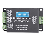 cheap -3A 3-Channel Smart PX24506 DMX 512 Decoder Driver Amplifier for RGB LED Lights  (DC 12-24V)