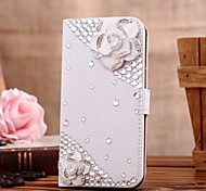Diamond Camellia PU Leather Full Body Case with Stand and Card Slot for SAMSUNG GALAXY S4 I9500
